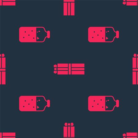 Set Mulled wine and Gift box on seamless pattern. Vector.