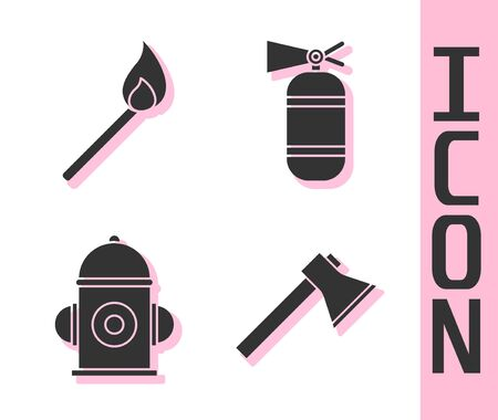 Set Firefighter axe, Burning match with fire, Fire hydrant and Fire extinguisher icon. Vector.
