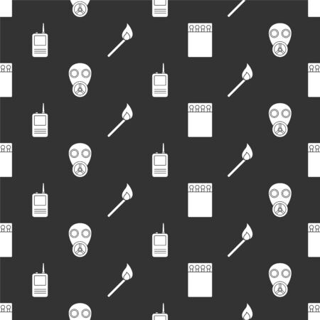 Set Open matchbox and matches, Gas mask, Walkie talkie and Burning match with fire on seamless pattern. Vector. Vectores
