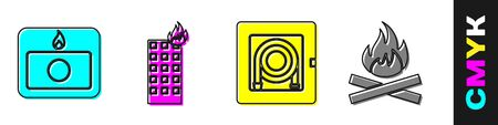 Set Fire alarm system, Fire in burning building, Fire hose cabinet and Campfire icon. Vector. Vectores