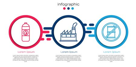 Set line Canister for motor machine oil, Oil industrial factory building and No barrel for gasoline. Business infographic template. Vector.