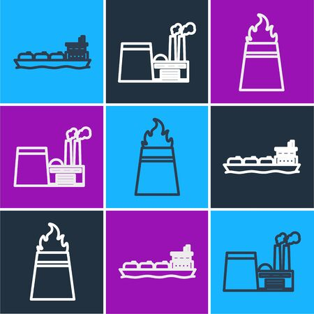 Set line Oil tanker ship, Oil rig with fire and Oil industrial factory building icon. Vector. Stok Fotoğraf - 150535966