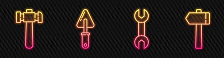 Set line Wrench spanner, Hammer, Trowel and Hammer. Glowing neon icon. Vector.
