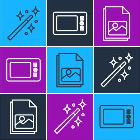 Set line Magic wand, Picture landscape and Graphic tablet icon. Vector. Illustration