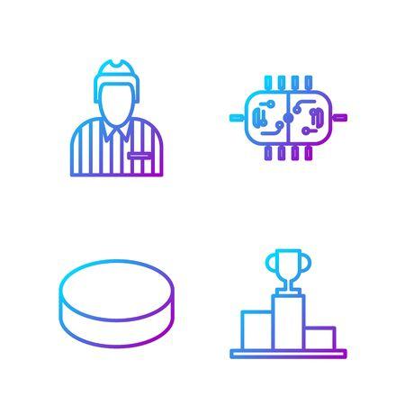 Set line Hockey over sports winner podium, Hockey puck, Hockey judge, referee, arbiter and Hockey table. Gradient color icons. Vector.