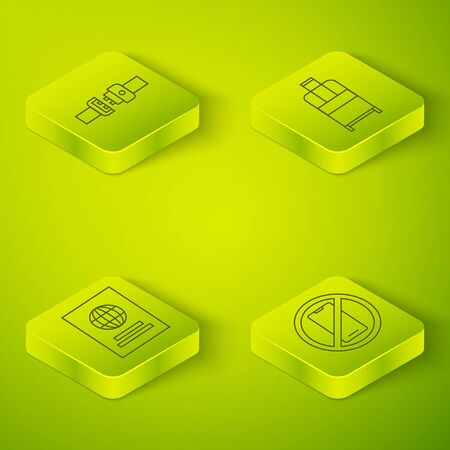 Set Isometric Suitcase, Passport, No cell phone and Safety belt icon. Vector. Ilustrace