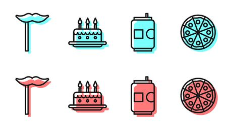 Set line Beer can, Paper mustache on stick, Cake with burning candles and Pizza icon. Vector.