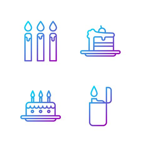 Set line Lighter, Cake with burning candles, Birthday cake candles and Cake. Gradient color icons. Vector. Illustration