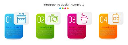 Set line Gift box, Photo camera, Cake and Beer can. Business infographic template. Vector.