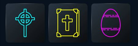 Set line Christian cross, Easter egg and Holy bible book. Black square button. Vector. Çizim