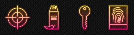 Set line Key, Target sport, Pepper spray and Fingerprint. Glowing neon icon. Vector.  イラスト・ベクター素材
