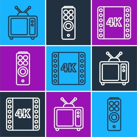 Set line Retro tv, 4k movie, tape, frame and Remote control icon. Vector.