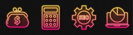 Set line Seo tag with gear wheel, Wallet with dollar, Calculator and Laptop with graph chart. Glowing neon icon. Vector.