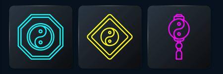 Set line Yin Yang, Yin Yang and Yin Yang. Black square button. Vector. 일러스트