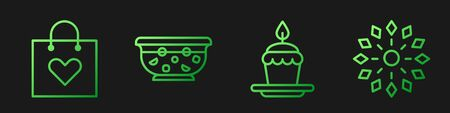 Set line Cake with burning candles, Shopping bag with heart, Mixed punch in bowl and Firework. Gradient color icons. Vector.