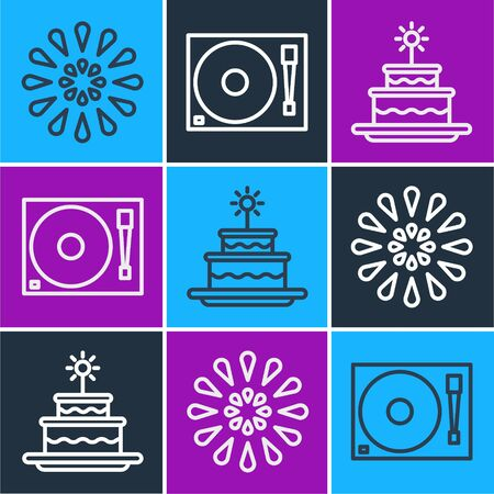 Set line Firework, Cake with burning candles and Vinyl player with a vinyl disk icon. Vector. Illustration