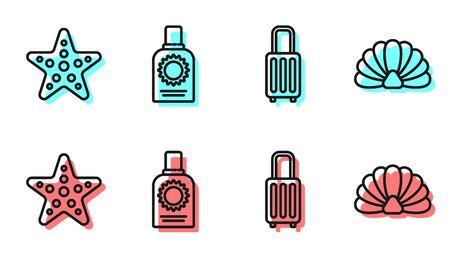 Set line Suitcase, Starfish, Sunscreen spray bottle and Scallop sea shell icon. Vector. Ilustrace