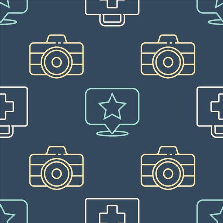 Set line First aid kit, Photo camera and Map pointer with star on seamless pattern. Vector.