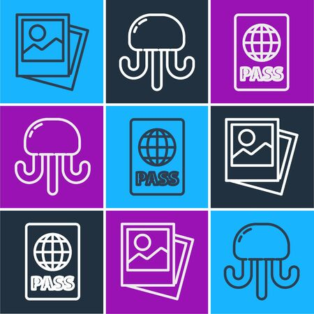 Set line Photo, Passport and Jellyfish icon. Vector. Ilustrace