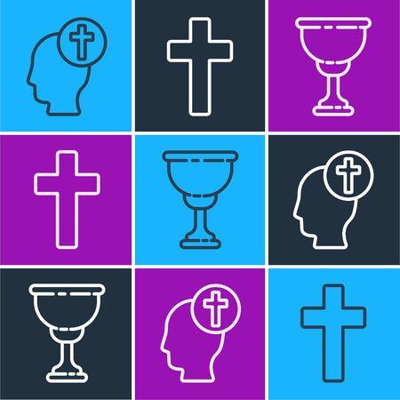 Set line Human head with christian cross, Christian chalice and Christian cross icon. Vector.