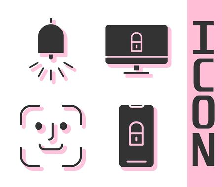 Set Mobile with closed padlock, Ringing alarm bell, Face recognition and Lock on computer monitor icon. Vector.
