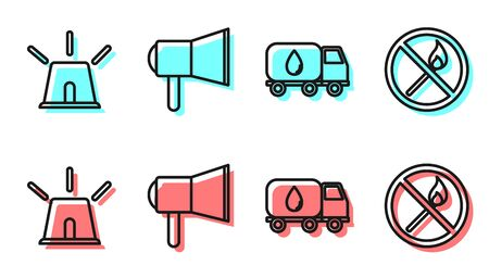 Set line Water delivery truck, Flasher siren, Megaphone and No fire match icon. Vector. Illustration