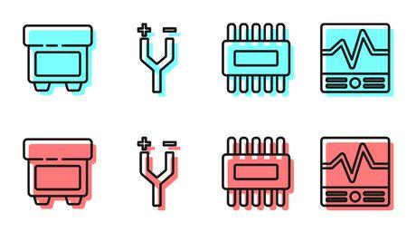 Set line Processor with microcircuits CPU, Fuse, Electric cable and Electrical measuring instruments icon. Vector. Ilustración de vector