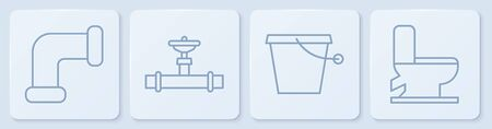 Set line Industry metallic pipe, Bucket, Industry pipe and valve and Toilet bowl. White square button. Vector.  イラスト・ベクター素材
