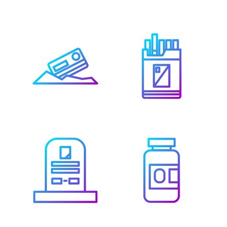 Set line Medicine bottle and pills, Tombstone with RIP written, Cocaine and credit card and Open cigarettes pack box. Gradient color icons. Vector.