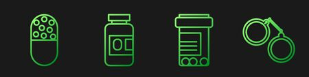 Set line Medicine bottle and pills, Medicine pill or tablet, Medicine bottle and pills and Handcuffs. Gradient color icons. Vector.