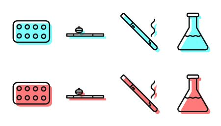 Set line Cigarette, Pills in blister pack, Opium pipe and Test tube and flask icon. Vector.  イラスト・ベクター素材