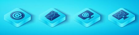 Set Isometric Mail and e-mail, Envelope, Monitor and envelope and Mail and e-mail on speech bubble icon. Vector.