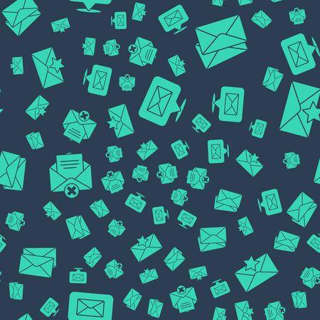 Set Speech bubble with envelope, Envelope, Delete envelope and Envelope with star on seamless pattern. Vector.