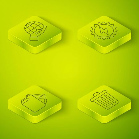Set Isometric Solar energy panel, Eco fuel canister, Trash can and Hand holding Earth globe icon. Vector.