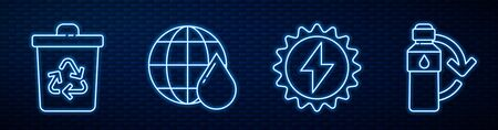 Set line Solar energy panel, Recycle bin with recycle, Earth planet in water drop and Recycling plastic bottle. Glowing neon icon on brick wall. Vector.
