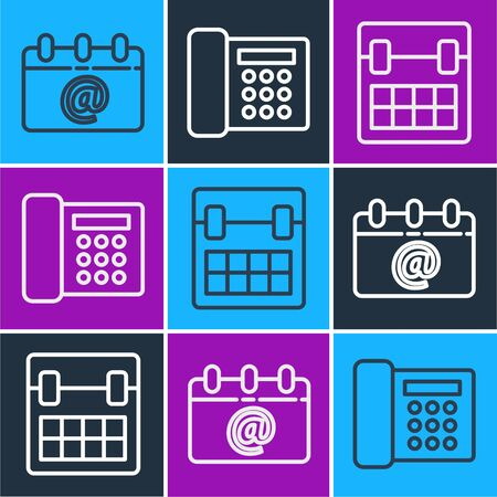 Set line Calendar with email, Calendar and Telephone icon. Vector.