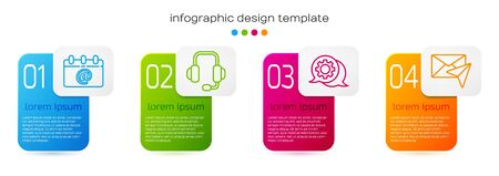 Set line Calendar with email, Headphones, Speech bubble chat and Envelope. Business infographic template. Vector.