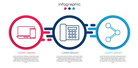 Set line Monitor and phone, Telephone and Share. Business infographic template. Vector. Ilustrace