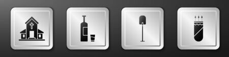 Set Church building, Whiskey bottle and glass, Shovel and Quiver with arrows icon. Silver square button. Vector.