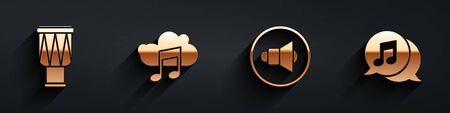 Set Drum, Music streaming service, Speaker volume and Musical note in speech bubble icon with long shadow. Vector.