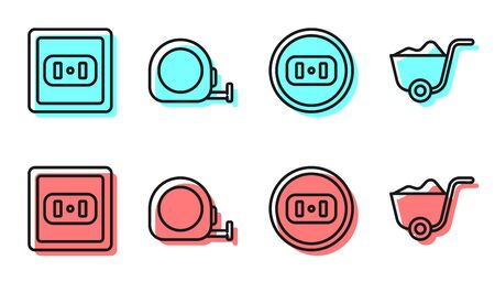 Set line Electrical outlet, Electrical outlet, Roulette construction and Shovel icon. Vector.