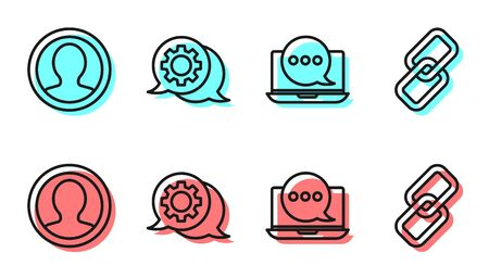 Set line Chat messages notification on laptop, Create account screen, Speech bubble chat and Chain link icon. Vector.