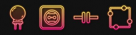 Set line Electric circuit scheme, Light emitting diode, Electrical outlet and Electric circuit scheme. Glowing neon icon. Vector.