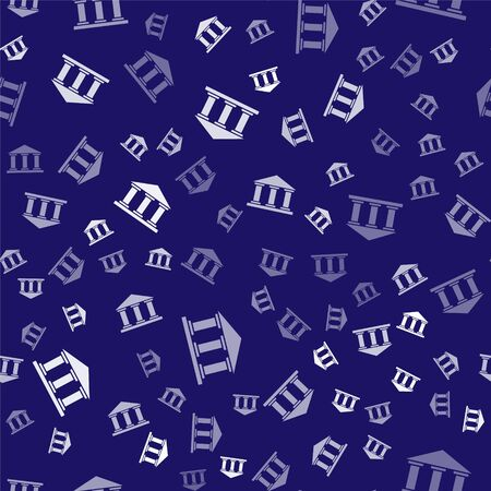 White Museum building icon isolated seamless pattern on blue background. Vector Illustration. Stock Illustratie
