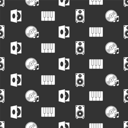 Set Stereo speaker, Vinyl disk, Vinyl player with a vinyl disk and Music synthesizer on seamless pattern. Vector.  イラスト・ベクター素材