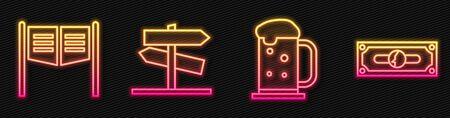 Set line Wooden beer mug, Saloon door, Road traffic signpost and Stacks paper money cash. Glowing neon icon. Vector.