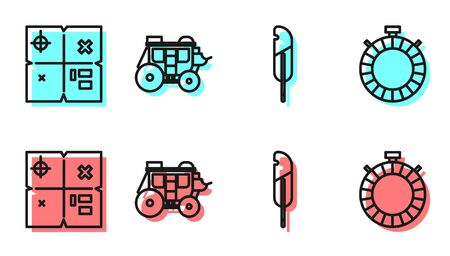 Set line Feather pen, Treasure map, Western stagecoach and Canteen water bottle icon. Vector.  イラスト・ベクター素材