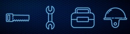 Set line Toolbox, Hand saw, Wrench spanner and Worker safety helmet. Glowing neon icon on brick wall. Vector.