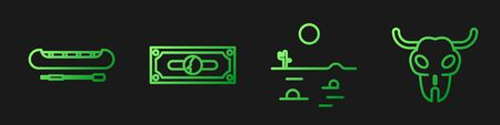 Set line Desert landscape with cactus, Kayak or canoe and paddle, Stacks paper money cash and Buffalo skull. Gradient color icons. Vector.