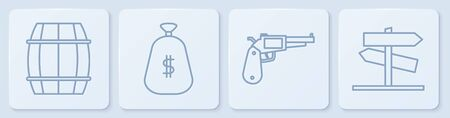 Set line Wooden barrel, Revolver gun, Money bag and Road traffic signpost. White square button. Vector.